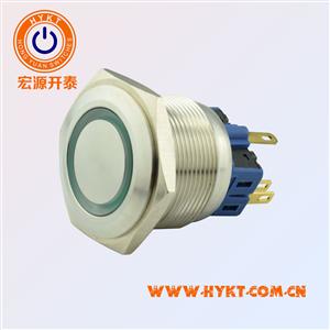 宏源开泰低价销售PBM25mm金属按钮开关PBM25-13M-FS-RG24-S5S(X3)带灯不带灯