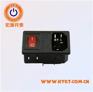 厂家直销三合一电源插座,电脑主机卡式保险丝盒+开关+插座S-03F-12S
