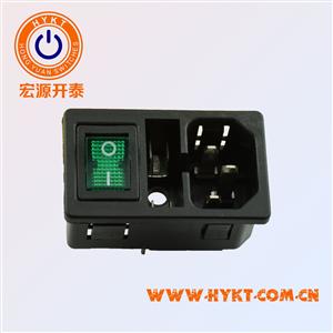 宏源开泰-供应三合一电源插座 长方形座带开关带保险丝带灯 音响插座