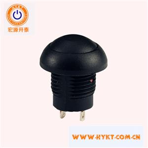 厂家直销12MM塑胶外壳防水按钮开关-可做自锁复位-带灯不带灯