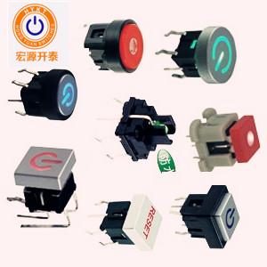厂家直供TS1系列带灯轻触开关方形上盖圆形上盖带电源标LED灯色多选