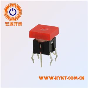 厂家直销TS2系列带灯轻触开关方形盖带灯直插脚复位功能