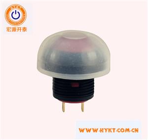 宏源开关直销PB12-2-R防水TP67带灯按钮开关带透明防水帽灯色多选