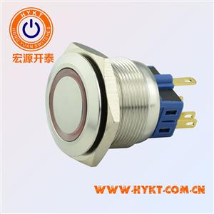 厂家直供开孔25MM环形带灯按钮开关 灯色多选带认证复位自锁功能