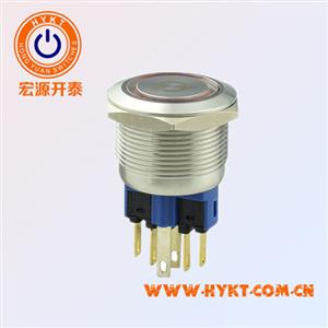 22mm 金属按钮开关 自锁式 自复式 防水 电源符号发光