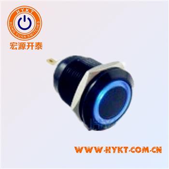 宏源开泰销售-直径19MM-黑壳蓝灯金属按钮开关-灯色可定制多选