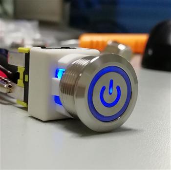 供应PS19自锁16A大电流金属按钮开关 防水IP65 专利产品UL VDE