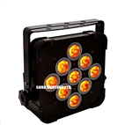 9*18w IR Remote (mobile app) RGBWAUV Led Battery & Wireless Dmx Par