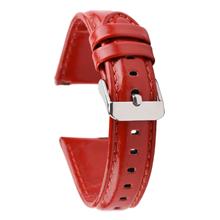 全包边红色平头真皮表带 配活动生耳 三和兴表带