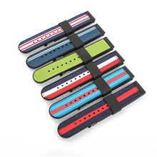 硅胶车尼龙表带圆尾长短带款  底部是硅胶  面部是尼龙(可换成真皮)  三和兴表带GJ715