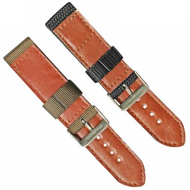 车皮革尼龙表带  单色长短带款  现有材料颜色任选  支持定制颜色  三和兴表带3