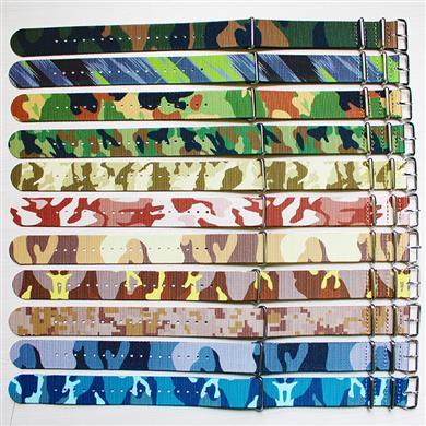 迷彩尼龙表带  超薄款配方钢扣  三和兴表带1