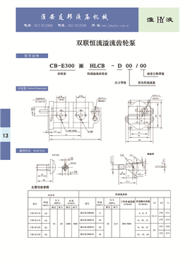 CB-E300*HLCB-D00/00   Double constant overflow gear pump
