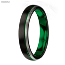 MTD0041 4mmTungsten Carbide Ring Green Black Matte