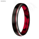 MTD0042 4mmTungsten Carbide Ring Red Black Matte