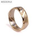 Square Shaped Gold Plating Damascus Steel Ring DM-004