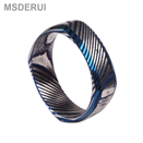 Square Shaped Blue Plating Damascus Steel Ring DM-005
