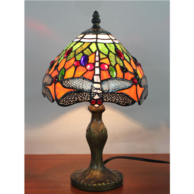 TL080001 8 inch tiffany style dragonfly table lamp stained glass table light