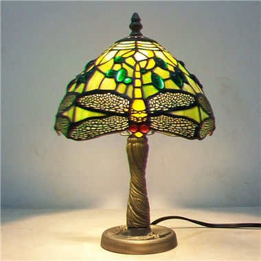 TL080002 8 inch Tiffany style green dragonfly lamp w alloy dragonfly lamp base home furnishing