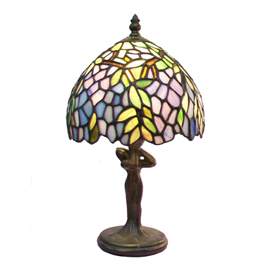 TL080006-Leaves tiffany table lamp lady figurine zinc alloy/polyresin lamp base