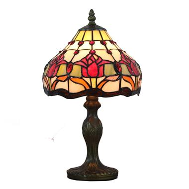 TL080011-8 inch Floral Tiffany Tulip Table Lamp Stained Glass modern bedside desk light art decor no