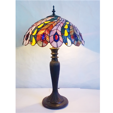 TL160008-peacock tiffany table lamp