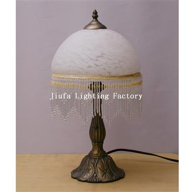 TRH100001W-Beaded Alabaster White Glass Shade Table lamp