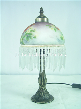 TRH080002-Victorian Fringed glass globe Accent Lamp