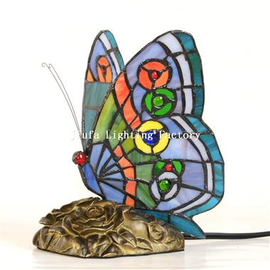TLC00055-Stained Glass Blue Butterfly Lamp Accent table light