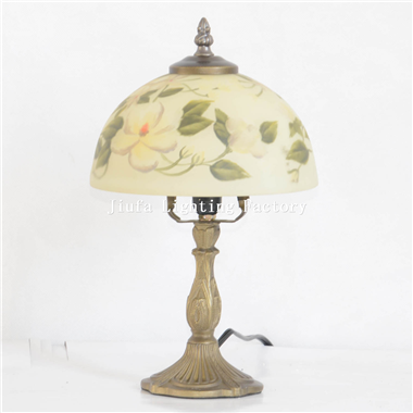 TRH080007-Flower Reverse Hand-Painted Glass Table Lamp