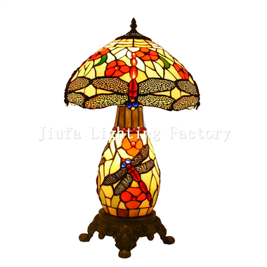 CL120001-12 inch tiffany style dragonfly cluster lamp stained glass table lamp