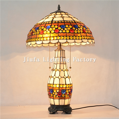 CL160002-Jeweled Tiffany Double Lit Lamp
