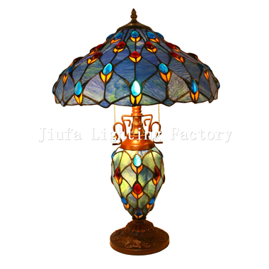 CL160003-peacock tiffany cluster double lit table lamp