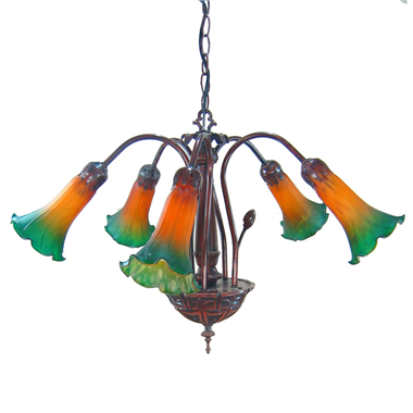 5 lights lily tiffany chandelier lamp color glass lampshade pendant lamp