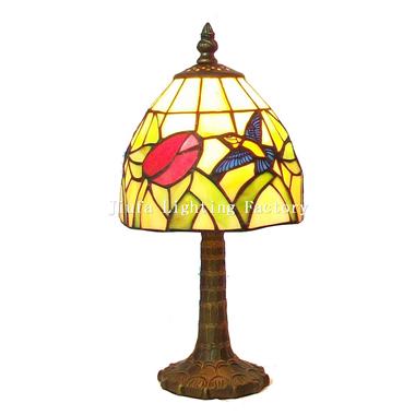 TL060001-hummingbird at flower mini tiffany table lamp