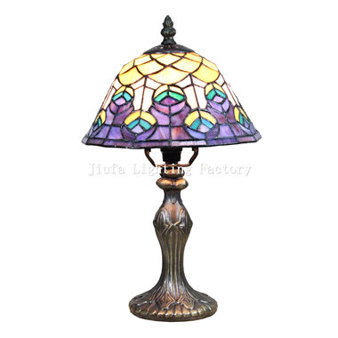 TL080023-peacock stained glass lamp bedside table light