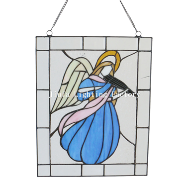 GP0001-Angel Tiffany Panel Stained Glass Art Frame Wall Decor