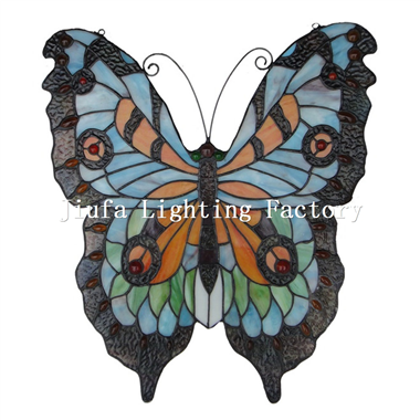 GP0002-tiffany glass butterfly window panel stained glass hanging window panel butterfly decor