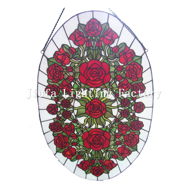 GP0003-Oval rose flower stained glass tiffany window panel
