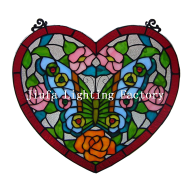 GP0004-butterfly heart shape tiffany glass panel art  glass decoration