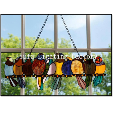 GP0005-parrot bird window panel suncatcher leaded stained glass