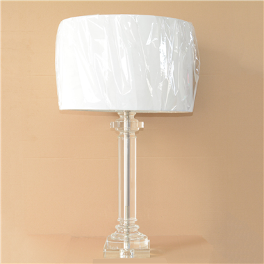Luxury crystal style table lamp with fabric Linen shade home decoration novelty lighting fixture