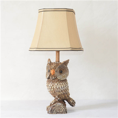 TRF100009 10 inch Owl base fabric lampshade table lamp