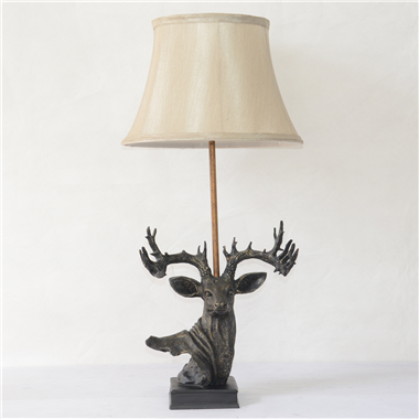 TRF130004 Deer head base with fabric lampshade table lamp study room lamp home decoration