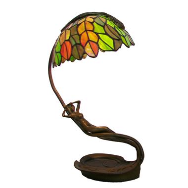TLC0071 Tiffany Lampe style female statue luminaire metal lampbase art deco sculpture accent light