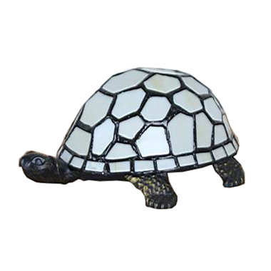 TLC00072- Tiffany Style Stained Glass Turtle Accent Lamp Table Light Antique Bronze Art Glass Shade