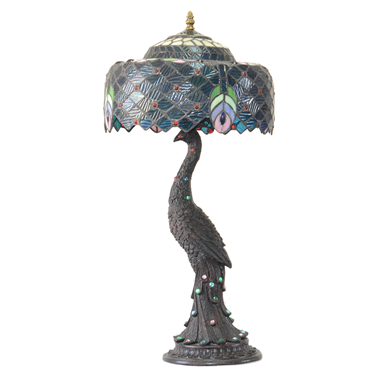 TL120029-12 inch Tiffany style jeweled peacock base stained glass accent lamp