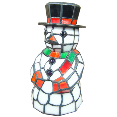 TLC0014 Tiffany Holiday Lighting Snowman Tiffany Glass Accent Lamp stained glass table light Christm