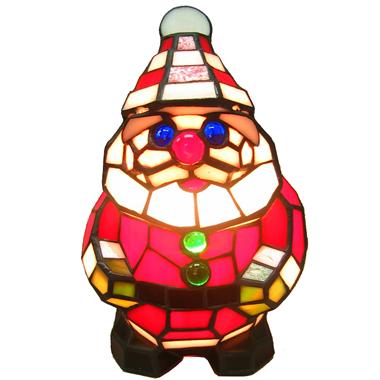 TLC0013 Tiffany Holiday Lighting Santa Claus Tiffany Glass Accent Lamp Christmas Decoration