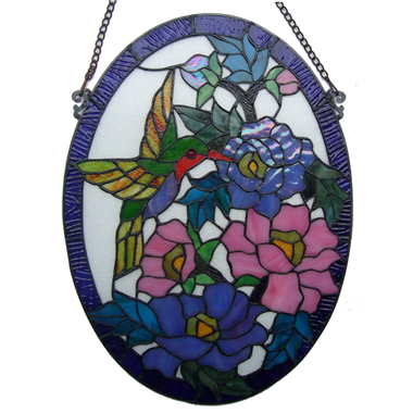 GP0006-Handcrafted Tiffany Style stained glass hummingbird window panel